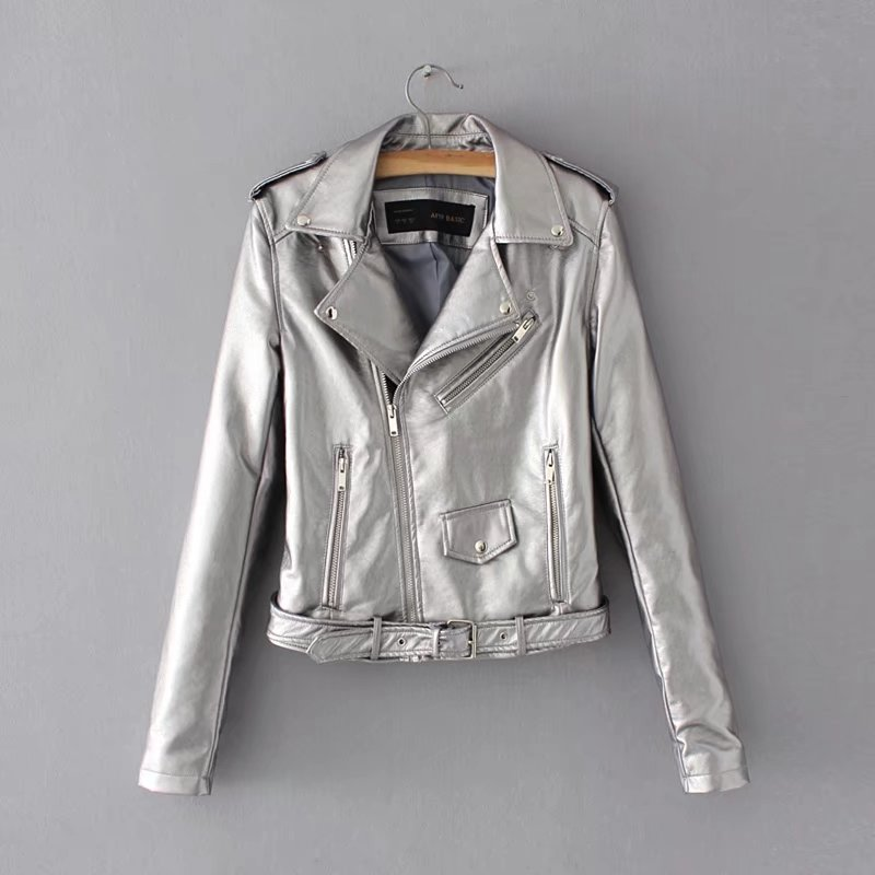 Blac Moto Faux   Leather   Jackets Women Bomber Motorcycle Biker Outerwear Coat with Belt Autumn 2018 women's   leather   jacket coat