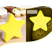 цена на US EU Plug Star Shaped Night Light Socket Lamp  Wall Lamp Light Sensor Night Light Children's Room Home Decor Pentagram Lamps
