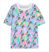 2015 new summer Harajuku style milk digital printing short-sleeved loose Tee female
