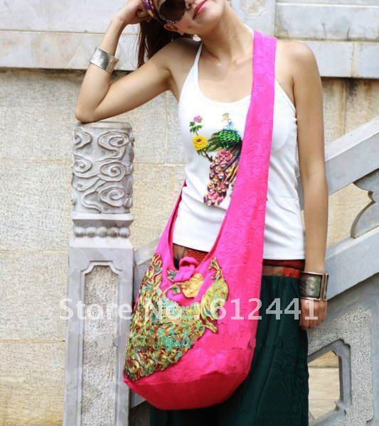 New Style Casual Cotton Embroidery Lady Girls Woman Messenger Bag