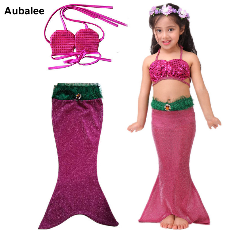 Traje de colas de sirena pequeña 2 uds para niños y niñas, Bikini, bañador para la playa, traje de baño de sirena para niños, Ariel, Princesa, vestido de fiesta de 3 a 9 años
