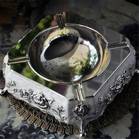High Quality European Ashtray Rose Pattern Smoking Accessories Zinc Alloy Ashtray Home Office Desk Decoration Best Gift