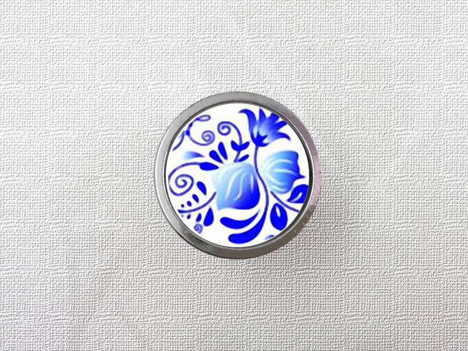 Blue Flower Dresser Drawer Knobs Vintage Style DIY Knobs Copper Sliver Bronze Modern Funiture Door Cabinet Handles Hardware css clear crystal glass cabinet drawer door knobs handles 30mm