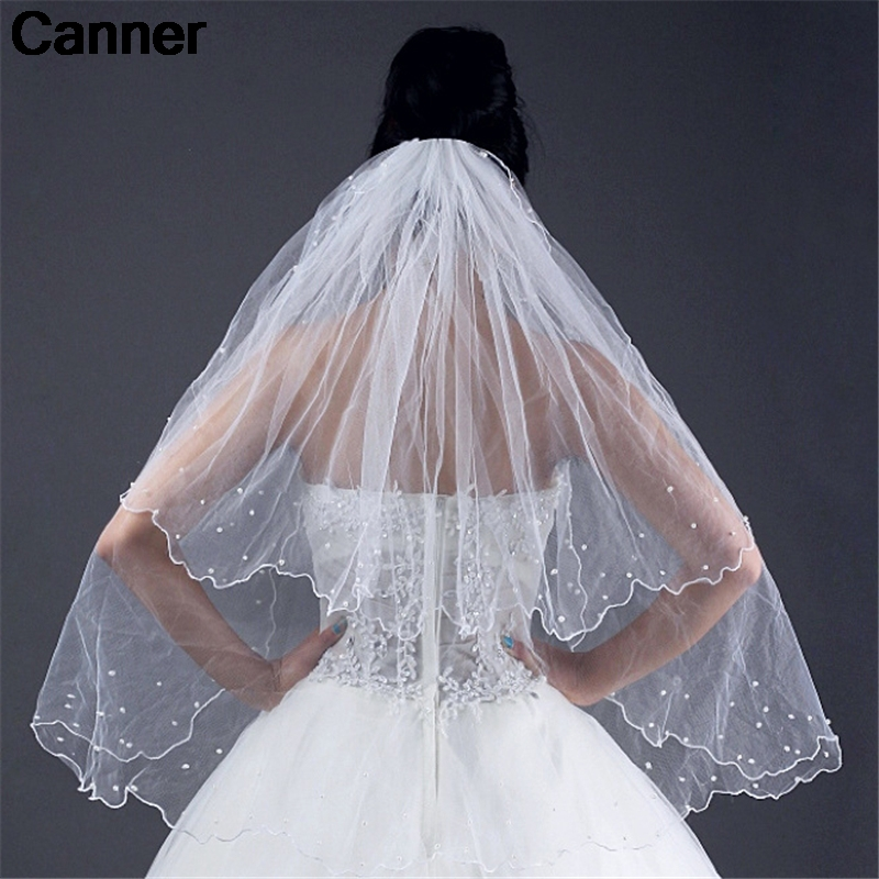 Canner Simple Two Layers Short Tulle White Wedding Veils 2019 Ivory Bridal Veil For Bride Wedding Accessories Velos C5