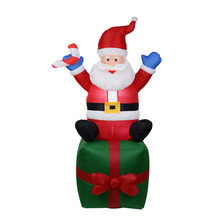 6 Foot 180 CM Inflatable Hands Up Lighted Santa Claus Sitting On The Gift Box Yard Holiday Christmas Decoration With Candy Stick(China)