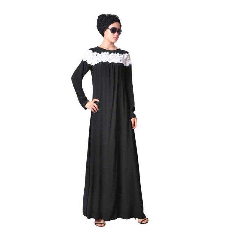 New Fashion Black Muslim Lace Dress Abaya in Dubai Islamic Clothing For Women Jilbab Djellaba Robe Musulmane Jubah EID