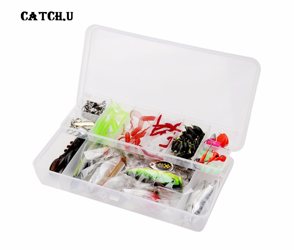 101pcs Fishing Lure Kit Mixed Minnow/Popper Spinner Spoon Lure With Hook Artificial Bait Fish Lure Set  цены