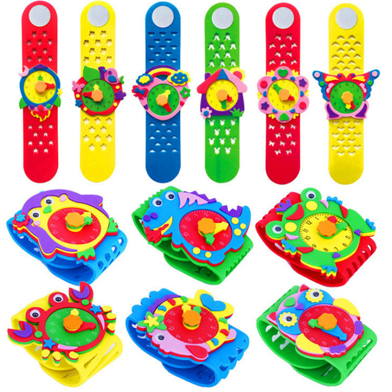 New DIY  Paste Kids Watches Kindergarten Handmade Material Package Cartoon Animal Watch Children Watch