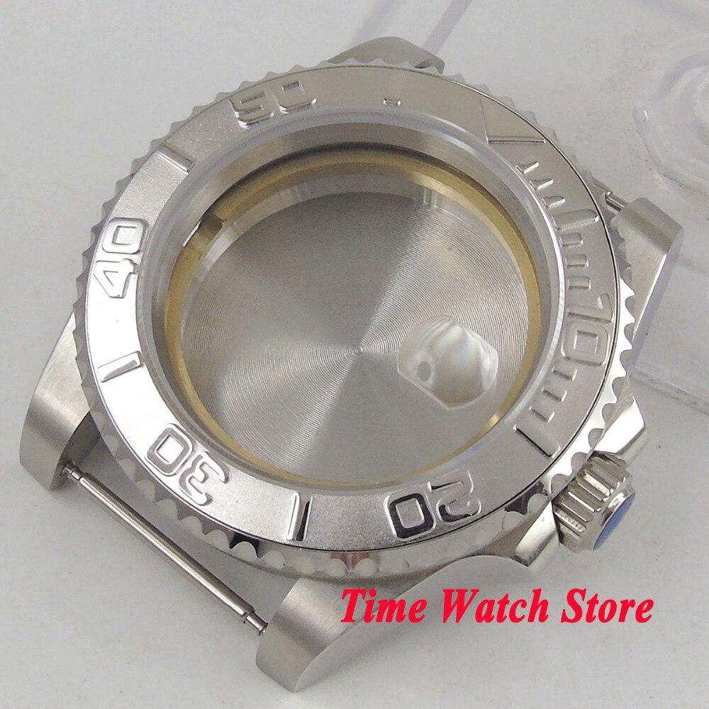 40mm de cristal de zafiro bisel de cerámica 316L reloj de acero inoxidable funda ETA 2836 movimiento Mingzhu 2813 MIYOTA 8215 C19-in Esferas de reloj from Relojes de pulsera    1