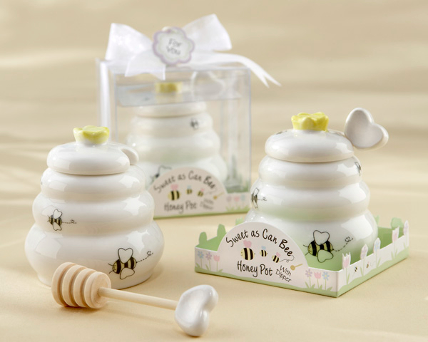 Free Shipping New Arrival Fast Delivery Wedding Favor Sweet As Can Bee Ceramic Honey Pot With Wooden Dipper Wholesale