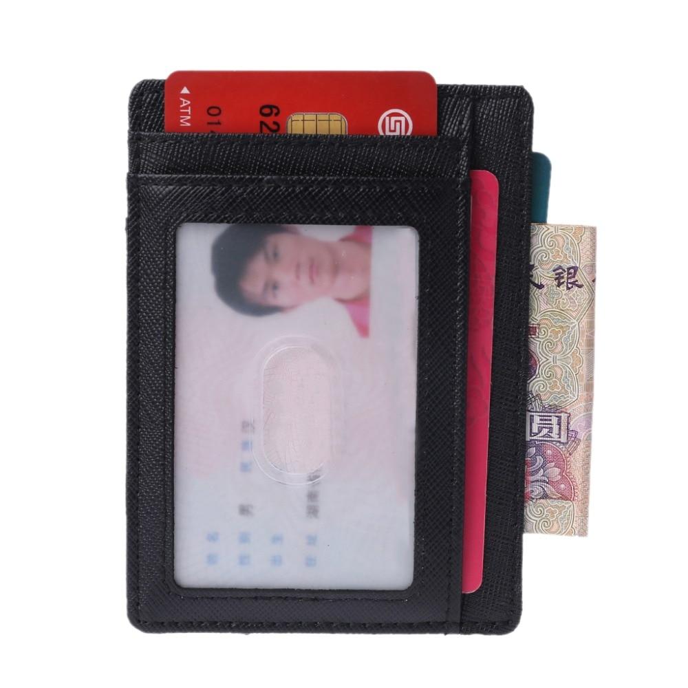 11x8x0,2 Cm Dünne Front Pocket Wallet Echtes Leder Id Kreditkarte Halter Fall Rfid Blocking Geldbörse Schwarz Farbe