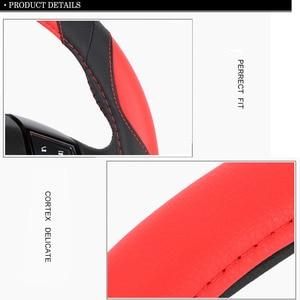 Image 4 - אוניברסלי 38 cm כיסוי גלגל הגה ספורט סגנון מלאכותי עור צמת על היגוי גלגל הגנה על פנים רכב