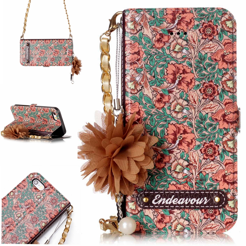 Luxury Flower Pattern Leather Women Wallet Case For iPhone 5S Stand Card Holder Flip Cover For iPhone 5 S SE Pouch Bag