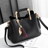 Europe Trend Fashion Women Handbag Female Pu Top Handle Bags 2018 Tassel Design Ladies Shoulder Bags