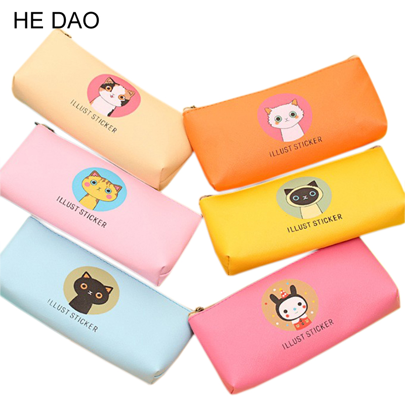 Creative Happy Cats Family Pu Leather Waterproof Pencil Case Stationery Storage Bag School Office Supply Escolar Papelaria Пенал