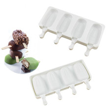 4 Holes Food Grade Silicone Ice Cream Molds Ice Tube Moulds Maker Freezer Ice Cream Bar Party Molds with Popsicle Sticks Kitchen zhenxing 4 cup ice pop making molds w sticks translucent white green