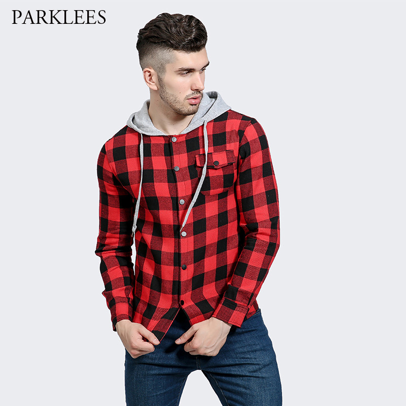 Red black plaid hooded shirt men 2017 brand new men shirt for Mens black plaid dress shirt