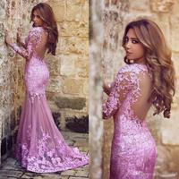 2017 Sexy Illusion Back Lace Appliques Mermaid Evening Dresses Custom Made Long Sleeve Formal Dress Party Vestido De Festa