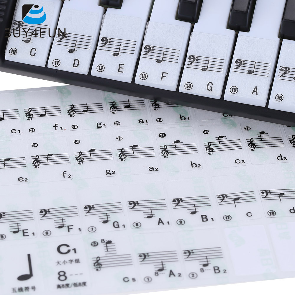 Hot Sale! Transparent Piano Keyboard Sticker 49/61 Key Electronic Keyboard 88 Key Piano Stave Note Sticker for White Keys