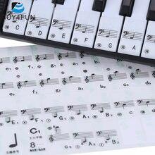 حار بيع! لوحة مفاتيح البيانو شفافة ملصقا 49/61 مفتاح لوحة المفاتيح الإلكترونية 88 مفتاح البيانو ستاف ملاحظة ملصق للمفاتيح البيضاء
