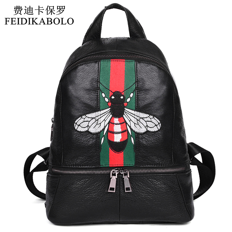 100% Genuine Leather Backpack Women 2016 Black Backpack School Bag High Quality Embroidery Girl Mochila Female School Rucksack