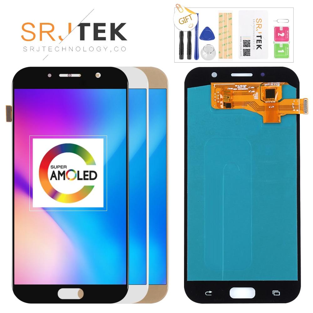 100% Super AMOLED lcd pour samsung Galaxy A7 2017 A720 A720F SM-A720F écran lcd ensemble numériseur à écran tactile