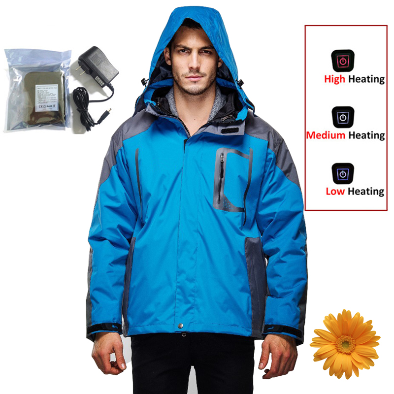 Outdoor Jacket Men 2-Layer Winter Sport Skiing Jackets Windproof Waterproof Thermal Camping Hiking 7.4V Electric Heated Clothing 3 in 1 outdoor jacket windproof waterproof coat women sport jackets hiking camping winter thermal fleece jacket ski clothing
