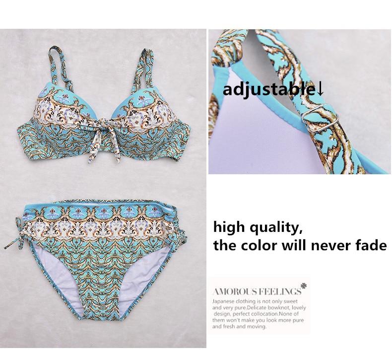 17 Women Plus Size Bikini Set Brazilian Push Up Women High Waist Swimwear Big Chest Swimsuit Plus Size Print Swimsuit 5XL 18