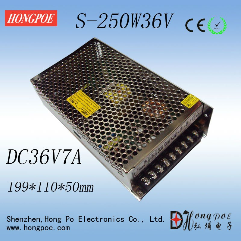 Best quality 36V 7A 250W Switching Power Supply Driver for LED Strip AC 100-240V Input to DC 36V 36pcs best quality 12v 30a 360w switching power supply driver for led strip ac 100 240v input to dc 12v30a