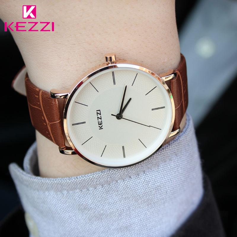 Prix pour Nouvelle Arrivée KEZZI Bracelet En Cuir Montres À Quartz De Mode Formelle Analogique Japon Mouvement Étanche Dames Robe Montre Horloge Femmes
