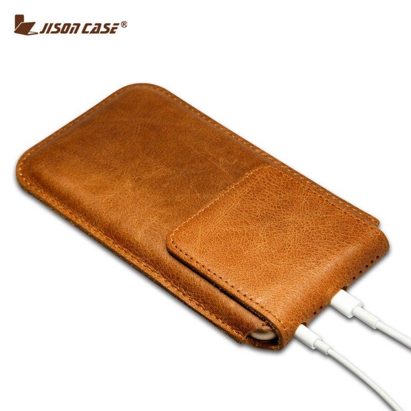 bilder für Jisoncase Echtes Leder-kasten Für iPhone 6 s 6 4,7 für iPhone 6 s plus, 6 plus 5,5 zoll Magnetverschluss Pouch