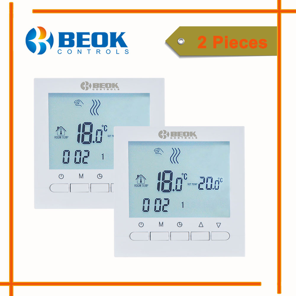 2 Pieces Programmble Gas Boiler Thermostat 220V Electrical Thermoregulator LCD Screen Temperature Controller BOT-313W Beok