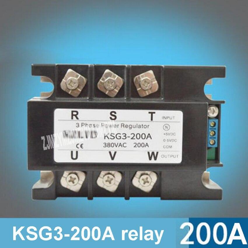 KSG3-200A Трехфазный твердотельные реле Напряжение Регулятор модуль 200A 4-20mA 0-5 В до 380 В AC твердотельные реле Мощность регулятор