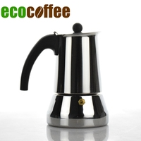 Ecocoffee 304 Stainless Steel Moka Pot 6 Cups Counted 300ML Around Italian Espresso Coffee Maker