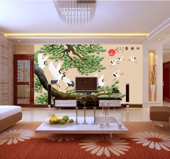 Chinese custom 3d large mural living room wallpaper TV sofa background fabric wall paper 3D stereoscopic chinese Songhe Park custom 3d stereoscopic large mural wallpaper wall paper living room tv backdrop of chinese landscape painting style classic