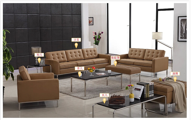 U-BEST Florence Knoll Style Sofa Sectional sofa 1+2+3 seater,Modern Brown  Leather Recliner Sofa Couch Loveseat Set Living Room u best design corner sofa inspired by florence knoll left angle imitation leather or real leather modern living room sofa