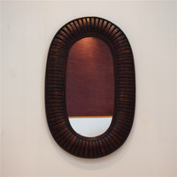 Kingart Antique Larger Bamboo And Wooden Frame Oval Wall Mirror Living Room Mural Hanging Big Wall Mirror