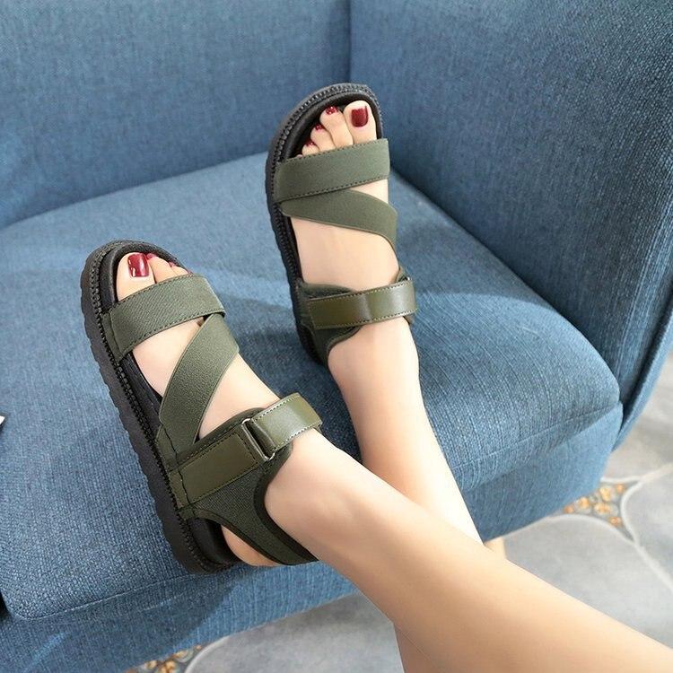 Summer Sandalias Mujer 2019 Shoes Woman Classics Gladiator Hook Loop Sandals Women Shoes Casual Flat Platform Block Heel Shoes 3