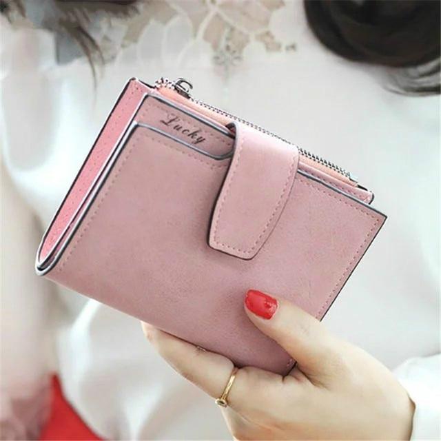 Модные маленький женский кошелек Короткие Кошелек Леди письмо защелки на молнии короткие бумажник сцепления одноцветное Винтаж матовая Для женщин кошелек