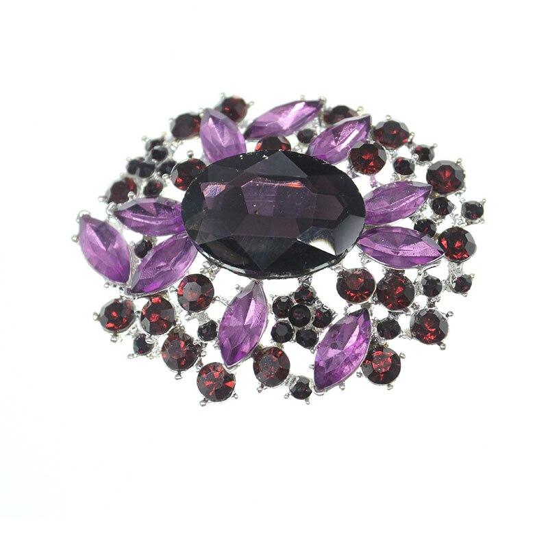 Broche de couronne florale de strass cristal Violet lavande grande broche pour les femmes