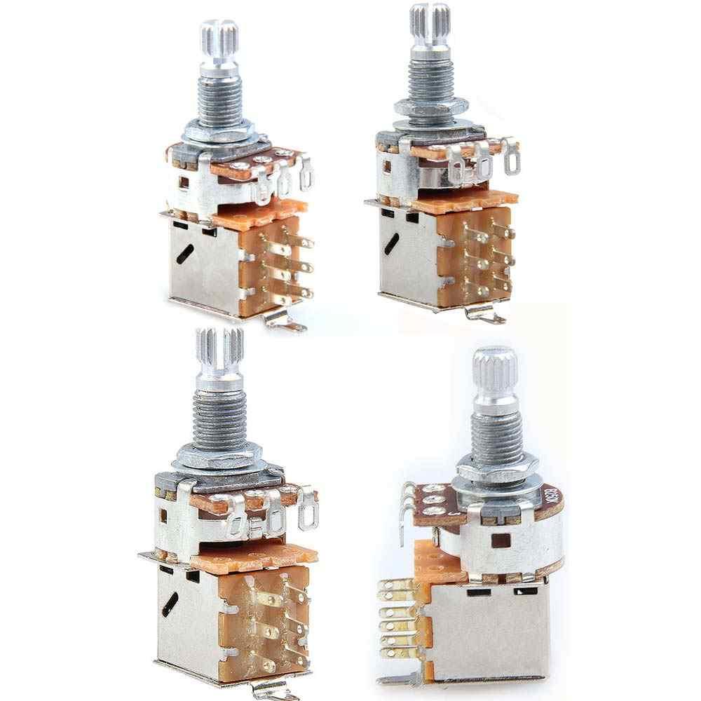 chrome guitar switch knob a500k b500k a250k b250k push pull guitar control pot potentiometer volume potentiometers [ 1000 x 1000 Pixel ]