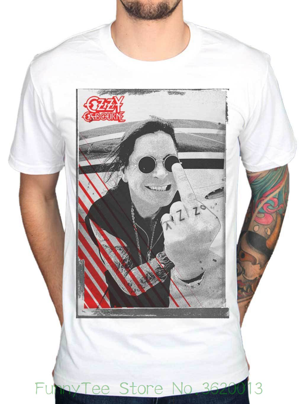 Official Ozzy Osbourne Middle Finger T-shirt Crazy Train Live Scream Red Cross