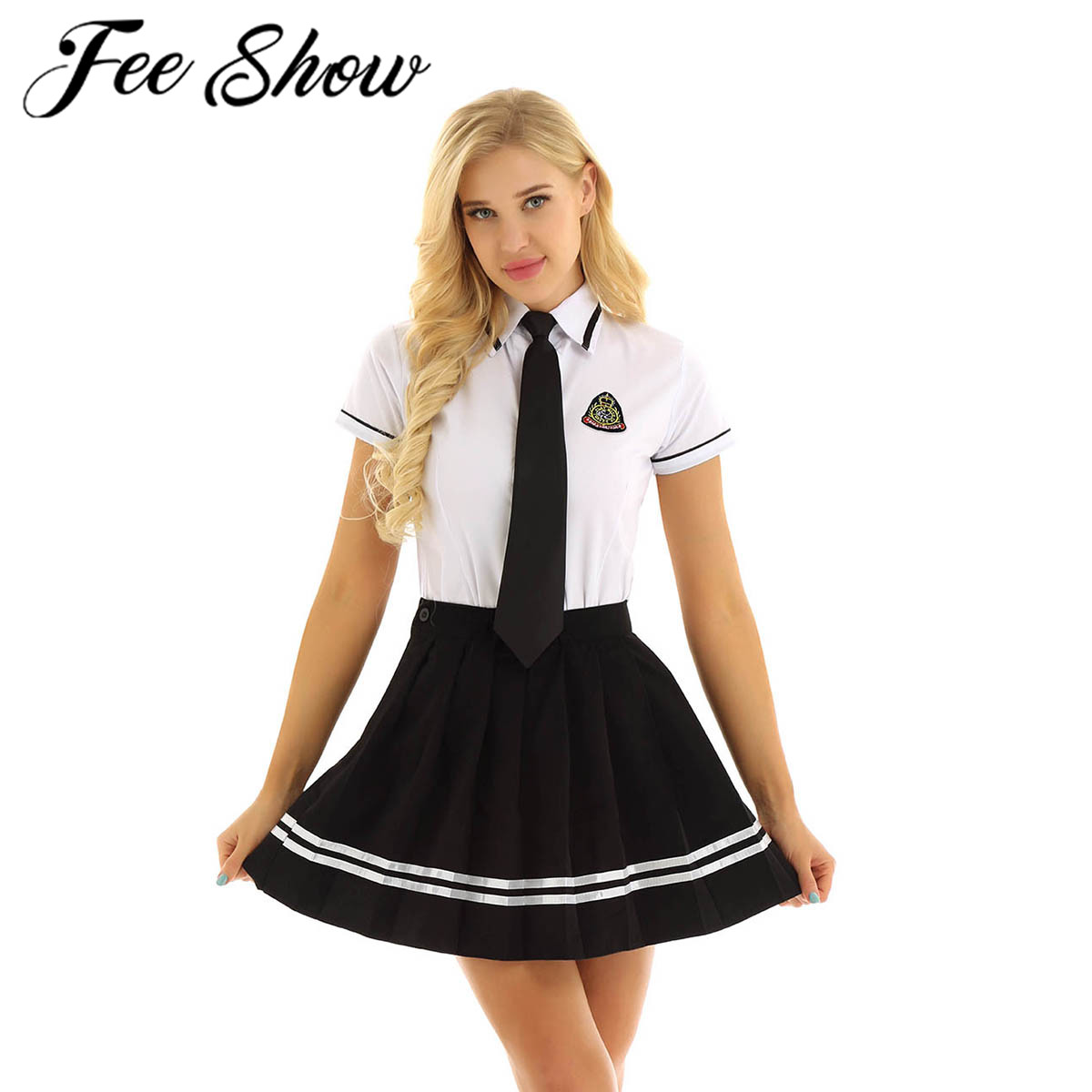 Girls Japanese School Uniform British Style School Uniform Anime Costumes White T-shirt Top Black Pleated Skirt with Badge Tie plus size short overalls