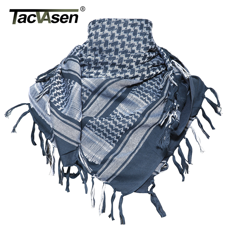 TACVASEN Men Military Shemagh Scarf Tactical Arab Keffiyeh Scarf Arabic Cotton Paintball Camouflage Head Scarf Airsoft Face Mask(China)