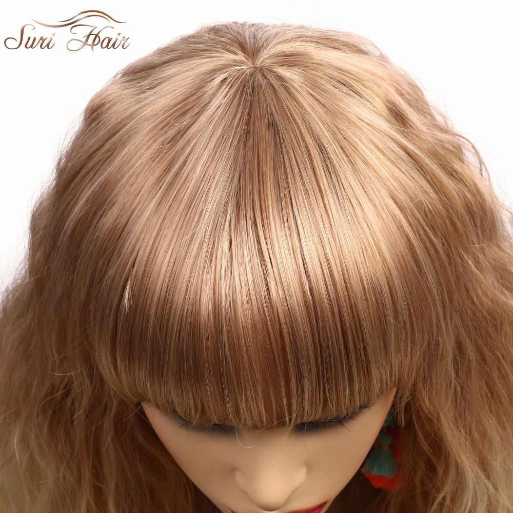 Сури волосы 30 дюймов длинные блонд смешанный парики с синтетической термостойкие аккуратные челки натуральные волнистые парики для афроамериканских женщин