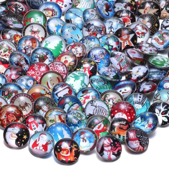 RoyalBeier 50 قطعة/الوحدة عيد الميلاد عنصر موضوع الزجاج السحر 18 مللي متر أزرار خاطفة ل 20 مللي متر الطقات سوار المفاجئة مجوهرات KZHM079