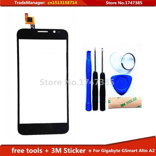 Diy livre ferramentas + 3 M adesivo tela de toque Original para Gigabyte GSmart Alto A2 sensor de vidro Touch Screen digitador preto