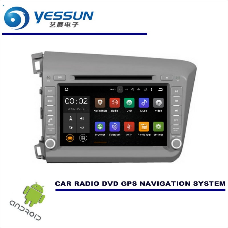yessun wince android car multimedia navigation system  honda civic  cd dvd gps