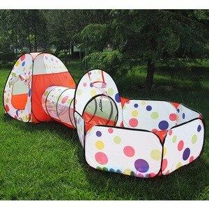 Image 1 - 3 pièces/ensemble bébé jouer tente jouets piscine à balles pour enfants océan balle piscine fosse pliable bébé Pipeline ramper jeu maison