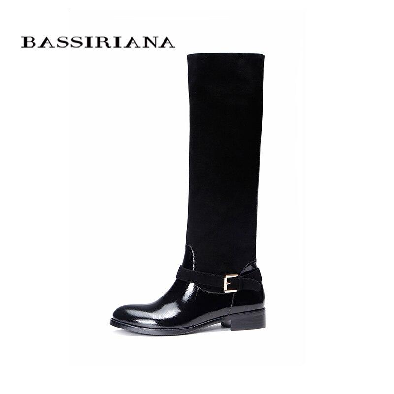 หนังรองเท้าฤดูใบไม้ร่วงฤดูใบไม้ผลิ2017รองเท้าผู้หญิง35 40สีดำหนังรองเท้าผู้หญิงจัดส่งฟรีBASSIRIANA-ใน รองเท้าบู๊ทสูงระดับเข่า จาก รองเท้า บน   2